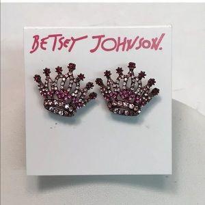 Betsey Johnson In Love Crown Stud Earrings Crystal